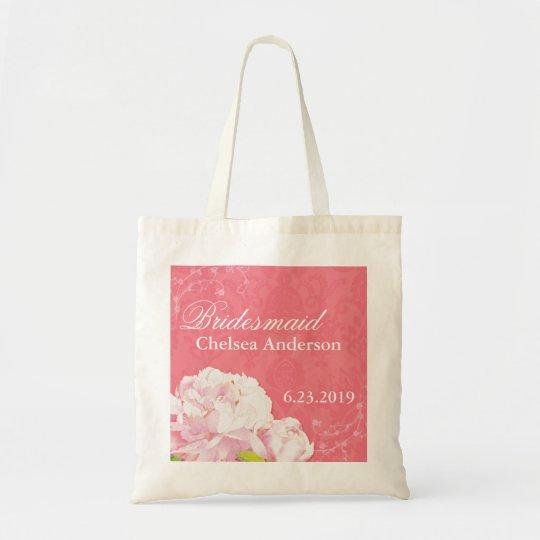 Pink Damask + Peony Customized Bridesmaid Gift Bag