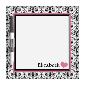 "Pink Damask Personalized 8"" Dry-Erase Board"