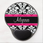 "Pink Damask Personalized Gel Mouse Pad<br><div class=""desc"">Show off your personal style in  a fun way with this black and white damask print with pink accent personalized mousepad.</div>"