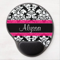 Pink Damask Personalized Gel Mouse Pad at Zazzle