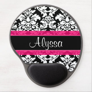 Pink Damask Personalized Gel Mouse Pad
