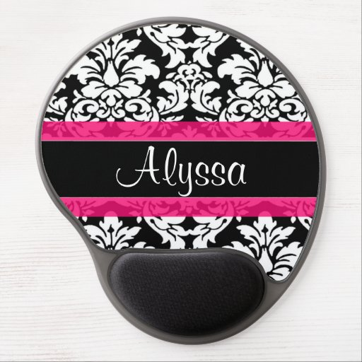 Pink Damask Personalized Gel Mouse Pads