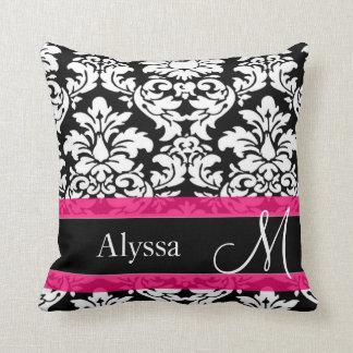 Pink Damask Personalized Pillows