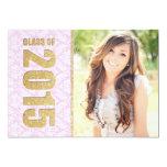 Pink Damask Photo Graduation Announcement