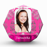 Pink damask photo template acrylic award