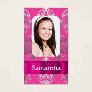 Pink damask photo template business card
