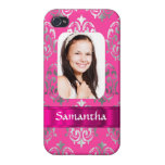 Pink damask photo template iPhone 4 cases