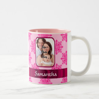 Pink damask photo template Two-Tone coffee mug