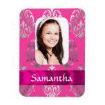 Pink damask photo template vinyl magnet