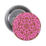 Pink damask pinback buttons