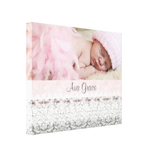 Pink Damask Pink Gray Baby Girl Canvas Portrait Canvas Print