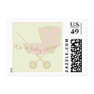 Pink Damask Pram Baby Shower Postage