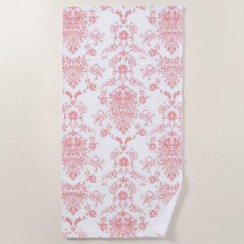 Pink Damask Pretty Print Beach Towel