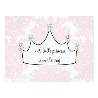 Pink Damask Princess Baby Girl Shower Custom Invitation