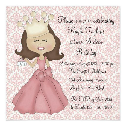 Pink Damask Princess Sweet 16 Party 5.25x5.25 Square Paper Invitation Card