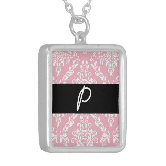 Pink Damask Print monogram initials merchandise Silver Plated Necklace