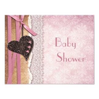 Pink Damask, Printed Heart & Lace Baby Shower Card