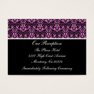 Pink Damask Reception Insert Cards