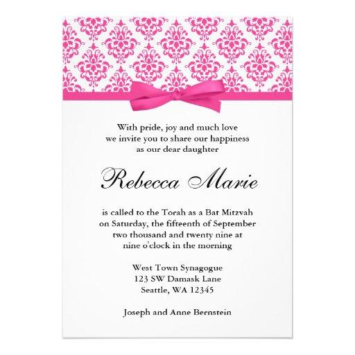Pink Damask Ribbon Bow Bat Mitzvah Invitations