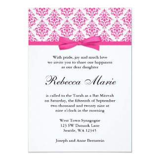 Pink Damask Ribbon Bow Bat Mitzvah Invitations