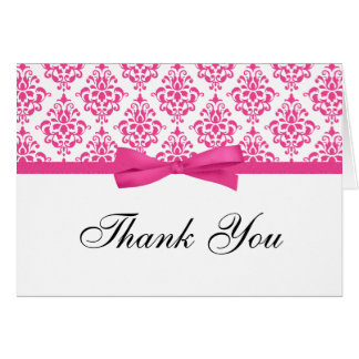 Pink Damask Ribbon Bow Thank You Stationery Note Card