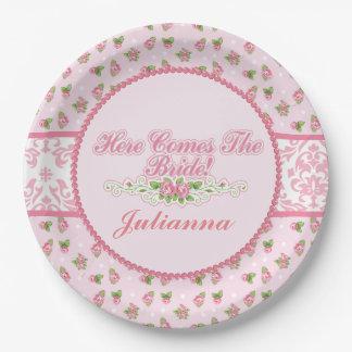 Pink Damask, Rose Embellishments, Bridal Shower Paper Plate