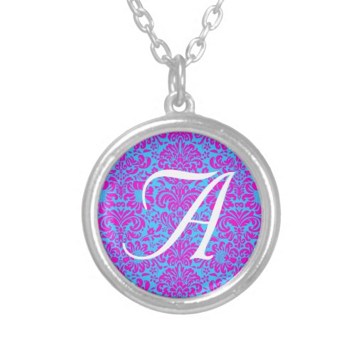 Pink Damask Round Pendant Necklace
