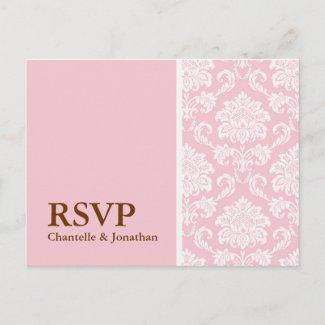 Pink Damask RSVP Postcard postcard