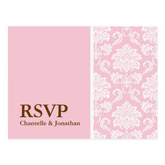 Pink Damask RSVP Postcard