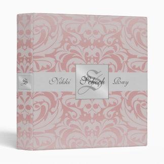 Pink Damask S Monogrammed Baby Album Binder