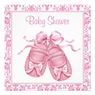 Pink Damask Satin Booties Baby Girl Shower Personalized Invitations