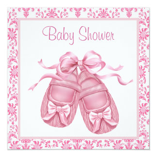 Pink Damask Satin Booties Baby Girl Shower 5.25x5.25 Square Paper Invitation Card