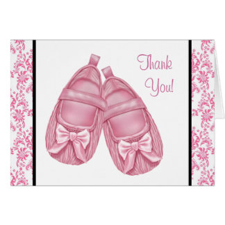 Pink Damask Satin Booties Baby Girl Thank You Card