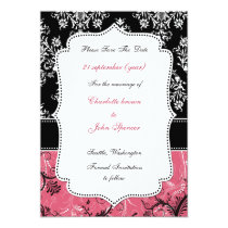 pink damask save the date announcement