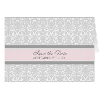 Pink Damask Save the Date Announcement Card