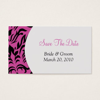 Pink Damask Save The Date Business Card