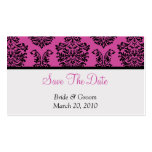 Pink Damask Save The Date Business Card Template