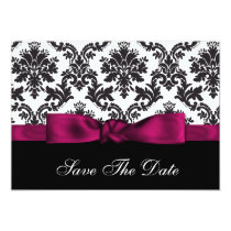 pink damask Save the date Card