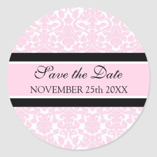 Pink Damask Save the Date Envelope Seal