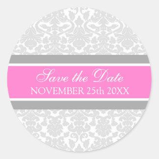 Pink Damask Save the Date Envelope Seal Sticker