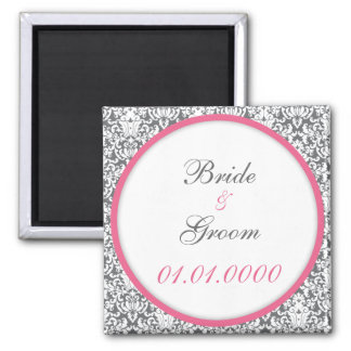 Pink Damask save the date Magnet