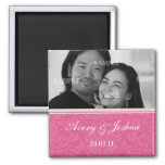 Pink Damask Save the Date Photo Magnet