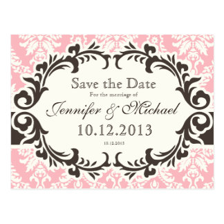 Pink Damask Save the Date Postcard