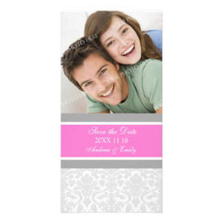 Pink Damask Save the Date Wedding Photo Cards