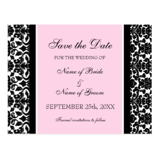 Pink Damask Save the Date Wedding Postcards