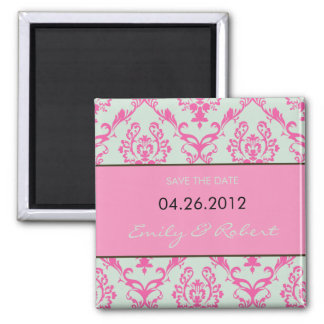 Pink Damask save the date weding magnet