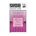Pink Damask Sip & See Baby Shower Postage Stamp