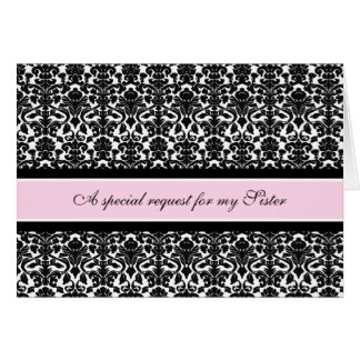 Pink Damask Sister Maid of Honor Invitation