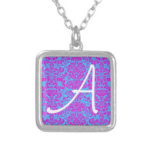 Pink Damask Square Pendant Necklace