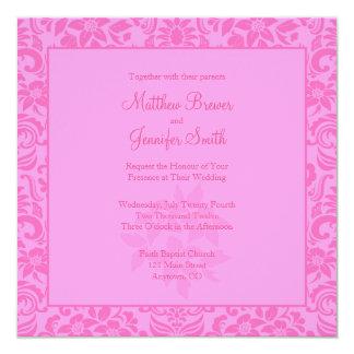 Pink Damask Square Wedding Invitation